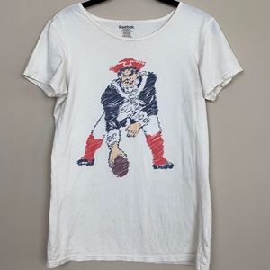 Reebok Old School Logo Patriots Tee Shirt S